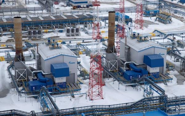 ロシア国営ガス会社ガスプロムが北極圏で運営するガス処理施設=ロイター