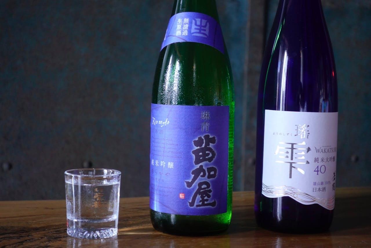 「若鶴」(右)は軽い飲み口、「苗加屋」は甘さとキレのよさが特徴だ