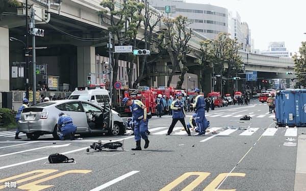 母子が死亡し、9人が重軽傷を負った事故現場(2019年、東京都豊島区)=共同