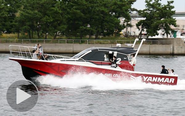 ヤンマーが公開した水素燃料電池船(12日、大阪市)
