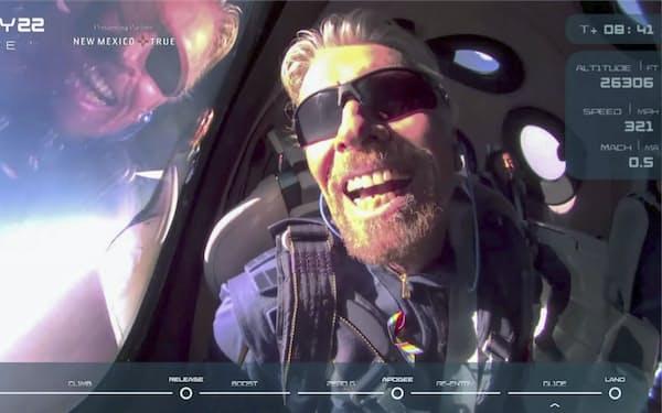試験飛行を成功させた米ヴァージン・ギャラクティック創業者のリチャード・ブランソン氏(同社提供・ロイター=共同)