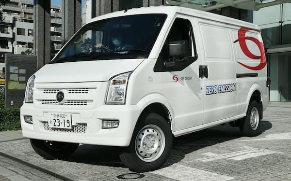 SBSホールディングスに使うEVトラック(8日、東京都墨田区)