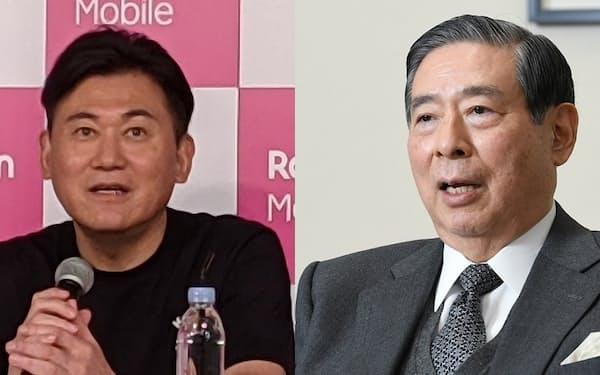 楽天の三木谷浩史会長兼社長(左)とSBIホールディングスの北尾吉孝社長