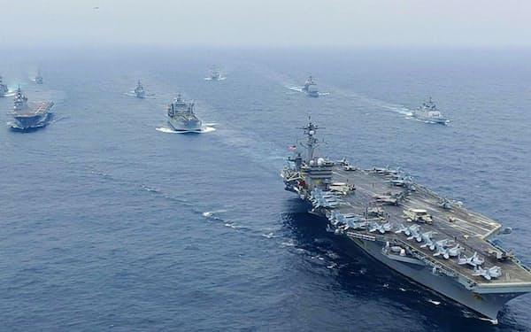 12日、インド洋ベンガル湾で行われた日米豪印の共同訓練「マラバール」(インド海軍提供)=共同