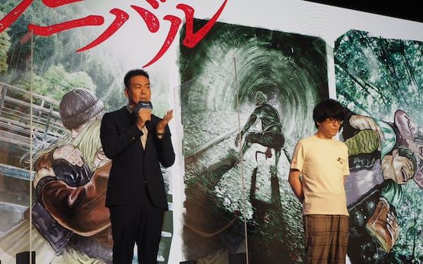 人気漫画「ガンニバル」実写作品を担当する片山慎三監督(㊧)と脚本家の大江崇允氏も登壇した