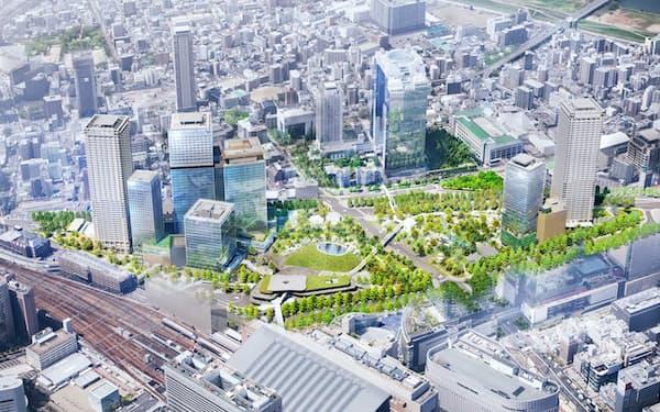 JR大阪駅北側の再開発エリア「うめきた2期」の完成予想イメージ