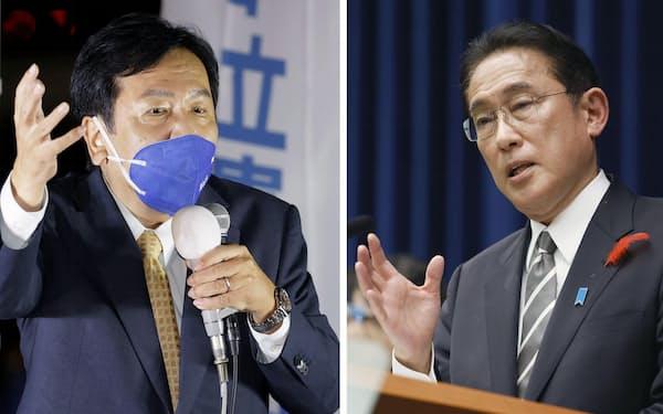 衆院を解散し首相官邸で記者会見する岸田首相(右)と、横浜市の街頭で支持を訴える立憲民主党の枝野代表=14日午後