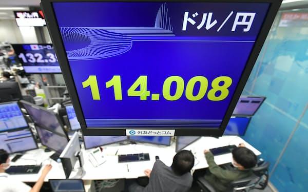 1ドル=114円台前半で推移する外国為替市場(15日午後、東京都港区の外為どっとコム)