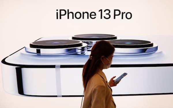 iPhone13の新製品投入で、多くの生産を担う台湾勢が再び、息を吹き返してきた(9月、中国・北京=ロイター)