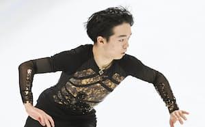 男子で優勝した鍵山優真のフリー(15日、北京・首都体育館)=共同