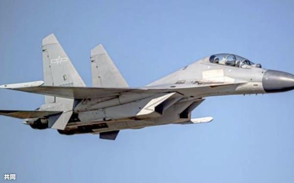 中国軍の戦闘機「殲16」=台湾国防部提供・共同