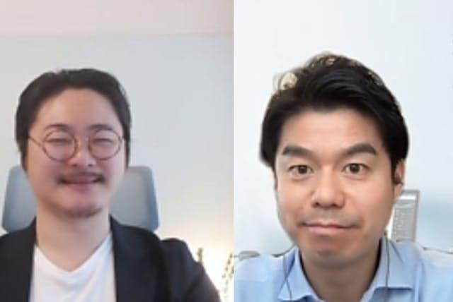 高橋浩一TORiX代表取締役(右)と『心理的安全性のつくりかた』著者の石井遼介氏(オンライン対談の画面から)