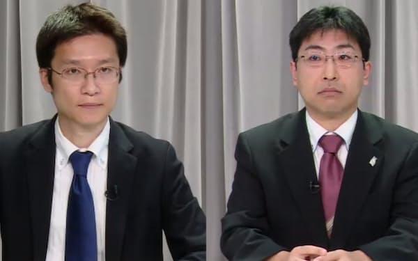 最終報告書の内容を説明する特別委員会の宍戸座長(右)と川口委員