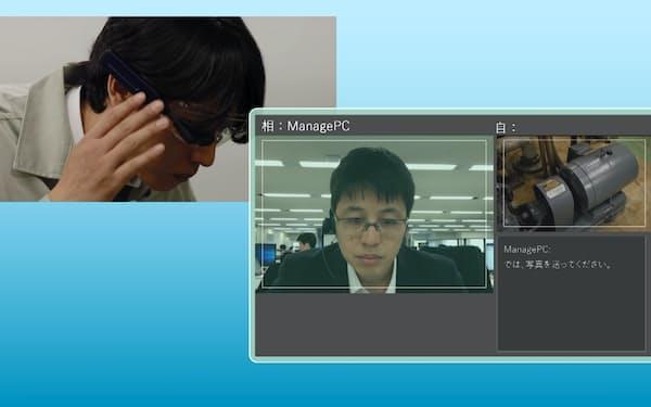 日本ユニシスは遠隔でメーターなどを点検するシステムを出展している