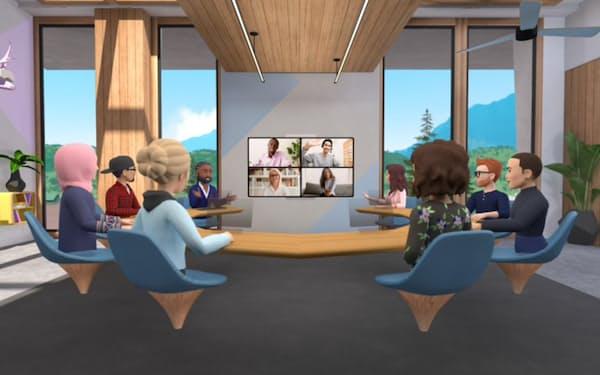 米フェイスブックは「メタバース」の構築に向けて開発体制を強化している(仮想空間で会議を開ける「ワークルーム」)