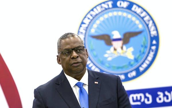 18日、オースティン米国防長官は「中国の兵器開発を注視する」と強調した(ジョージア)=AP