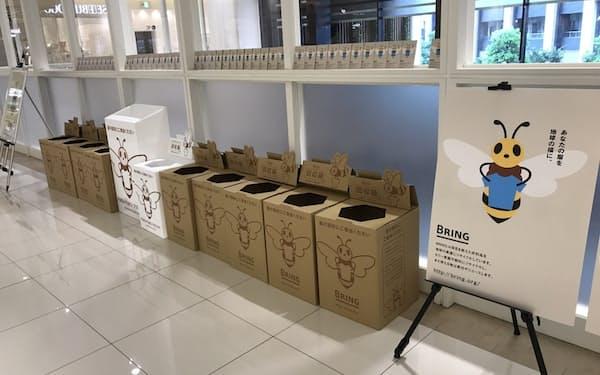 衣料品はリサイクルを促進する法律がなく、各社がそれぞれ取り組んでいる(日本環境設計の衣料品回収箱)