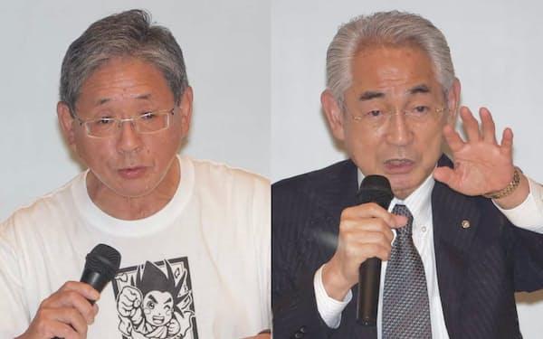 寿都町長選挙では6選を目指す現職の片岡氏(写真右)に前町議で新人の越前谷氏が挑む