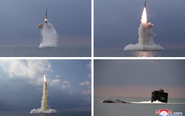 北朝鮮が19日に発射実験した新型の潜水艦発射弾道ミサイル(SLBM)=朝鮮中央通信・共同