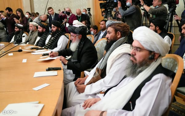 ロシアが主導して20日開催した協議にはタリバンの代表団が出席した=ロイター