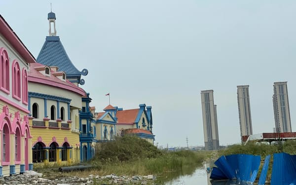 中国恒大集団のプロジェクトは各地で建設が止まっている(江蘇省、19日)