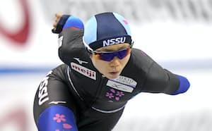 女子1500メートルで優勝した高木美帆(24日、長野市エムウェーブ)=共同