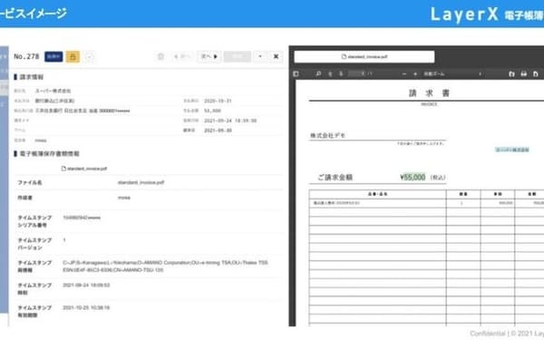 LayerXが提供を予定する電子保存サービスのイメージ