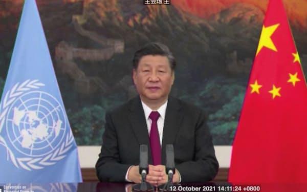 中国の外交官は習近平国家主席の意向に配慮する(12日、中国で開いた国際会議で演説)=ロイター