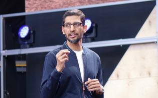基調講演に登壇するグーグルのスンダル・ピチャイ最高経営責任者(CEO)