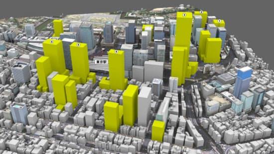 JR東京駅周辺で計画されている主な大型再開発計画。千代田区丸の内・大手町、中央区八重洲・京橋・日本橋の主要オフィスエリアで2016年以降に完成予定の主なビルをCGで示した。一部の計画は、日経不動産マーケット情報の推定に基づく(CG画像提供:キャドセンター)