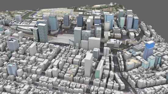 現在のJR東京駅周辺のCG。八重洲エリアは中小ビルが立ち並んでいる(CG画像提供:キャドセンター)