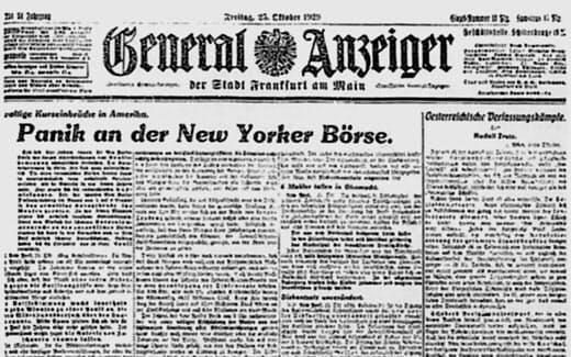 NY株暴落について筆者がフランクフルトの夕刊紙に書いた記事
