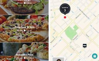 ポストメイツの注文画面(写真左)。届けてくれる人の顔写真と現在地が表示される(同右)