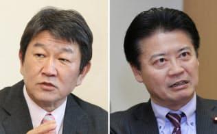自民党の茂木選対委員長(左)と民進党の玄葉選対委員長