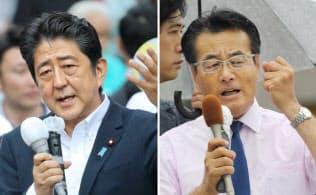 選挙戦でそれぞれ17、21都道府県を回った安倍首相(左)と岡田民進党代表