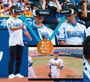 VRを使って投球イメージをつかもうとする男性(左)。スタンドの観客60人にもHMDが配られた(右)(写真:Galaxy)