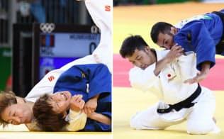 ともに銅メダルを獲得した女子48キロ級の近藤(左)と男子60キロ級の高藤