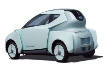 図1 日産自動車の「ランドグライダー」  2009年秋の東京モーターショーで公開した電気自動車のコンセプトカー。非接触充電への対応を想定する。2013年ごろの実用化を検討している。