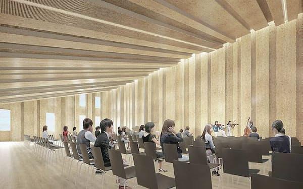 図3  特大講義室の完成予想パース。壁面も、天井と同じ仕上げになる。床はムクのカバ材を張る(資料:隈研吾建築都市設計事務所)