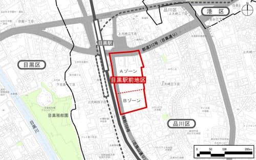 目黒駅前地区第一種市街地再開発事業の位置図(資料:目黒駅前地区市街地再開発組合)