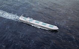 Rolls-Royceが考える無人船のイメージ図。船体上部に甲板は見当たらず、乗組員の姿もない(画像:Rolls-Royce Holdings)