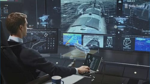 Rolls-Royceが構想する、無人船の陸上管制センターのイメージ図。オペレーターが遠隔で船舶の運航状態を監視する(画像:Rolls-Royce Holdings)
