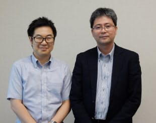 船舶向けのクラウドサービスの開発プロジェクトを手掛ける富士通研究所の阿南泰三氏(左)と樋口博之氏