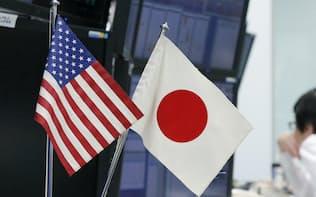 ディーリングルームの日米の国旗