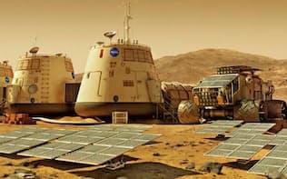 火星研究基地のイメージ。長期におよぶ居住計画では、この図のような基地の完成形を目指し、インフラを整備していくことになる。(Kenn Brown/Mondolithic Studios)