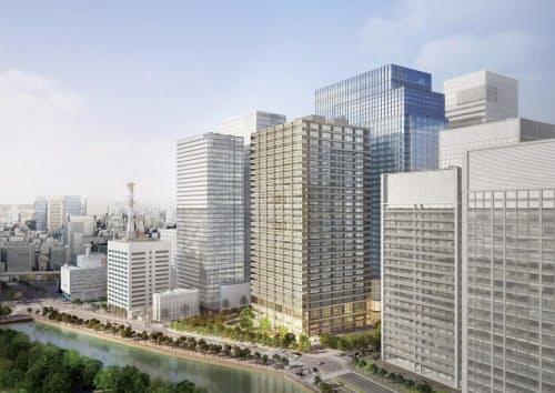 OH-1計画[マップA-1]。三井物産と三井不動産は、三井物産ビル、大手町一丁目三井ビルディング、大手町パルビルの跡地に2棟のオフィスビルを中心とした延べ面積約36万m2の大規模複合施設を建設する。高さ約160mのA棟はオフィス、店舗、ホール、高さ約200mのB棟はオフィス、ホテル、宴会場で構成し、B棟の主に高層階部分(3階、34~39階)に約190室を有する「フォーシーズンズホテル」が出店する。竣工は2020年2月末、開業は2020年春の予定(資料:三井物産、三井不動産)