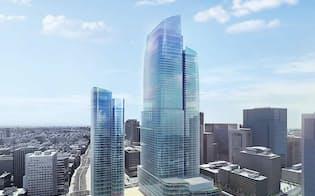 大手町2丁目常盤橋地区再開発[マップB-2]。日本ビル、朝日生命大手町ビルなどの跡地約3万1400m2に、総延べ面積約68万m2のオフィスを中心とした4棟のビルを建設する。設計は三菱地所設計が担当し、2027年9月の完成を目指す。4棟のうち最も規模が大きいB棟は、高さ約390m、地下5階・地上61階、延べ面積約49万m2。高さは大阪市のあべのハルカスを上回り、日本一となる(資料:三菱地所)