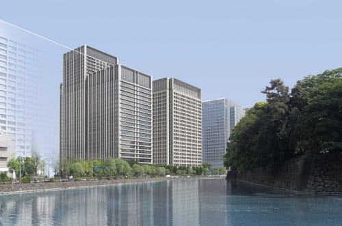 大手町パークビルディング(大手町1-1計画)[マップA-1]。三菱地所が、大手町1丁目のりそな・マルハビルと三菱東京UFJ銀行大手町ビルの跡地で建設を進める総延べ面積約26万m2のツインタワー。オフィスや店舗などが入居するA棟「大手門タワー・JXビルディング」は2015年11月に先行して竣工。建設中のB棟「大手町パークビルディング」は、地下5階・地上29階、延べ面積約15万1700m2。設計は三菱地所設計、施工は竹中工務店が担当し、17年1月の竣工を目指す。(資料:三菱地所設計)