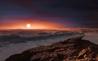 地球と同じぐらいの大きさの惑星プロキシマbからは、こんな風景が見えるかもしれない。(PHOTO ILLUSTRATION BY ESO, M. KORNMESSER)