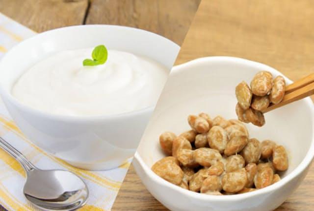 生きた菌を生食したければヨーグルトか納豆が効率的(c)Oksana Bratanova-123rf(ヨーグルト)、(c)reika7 -123rf(納豆)